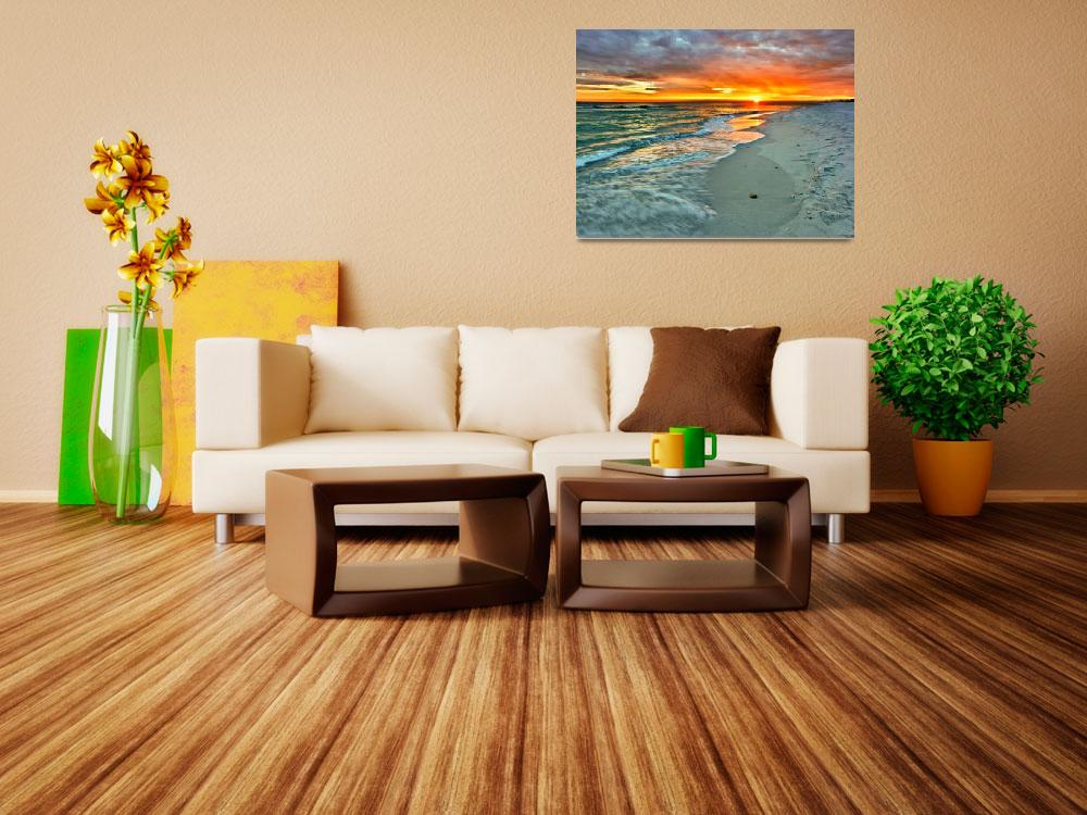 """Orange Sunset Green Waves Beach Fine Art Prints&quot  (2010) by eszra"