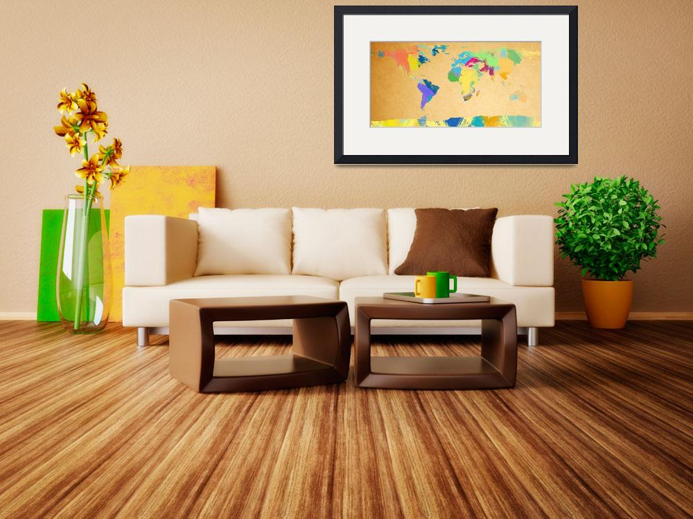 """watercolor world map 2&quot  (2012) by gsquared"