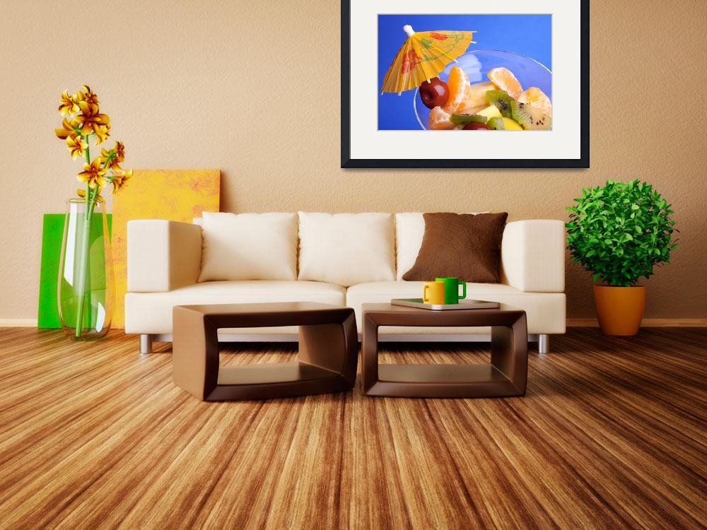 """Fruit Salad 0n Blue Background&quot  (2011) by shopartgallery"