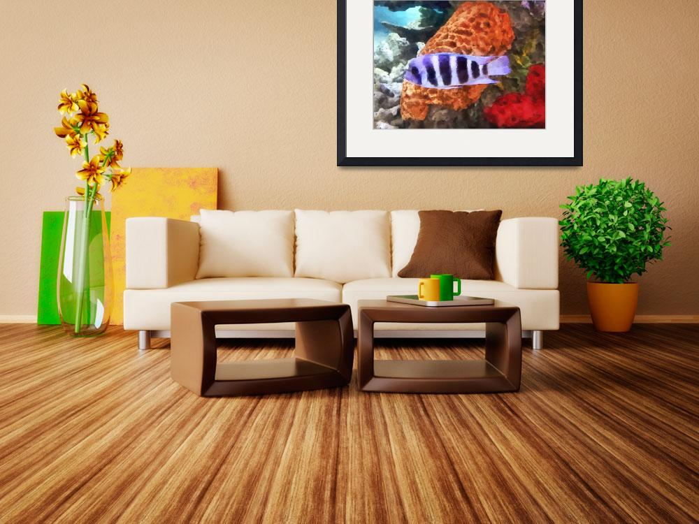 """Striped Tropical Fish Frontosa&quot  by susansartgallery"