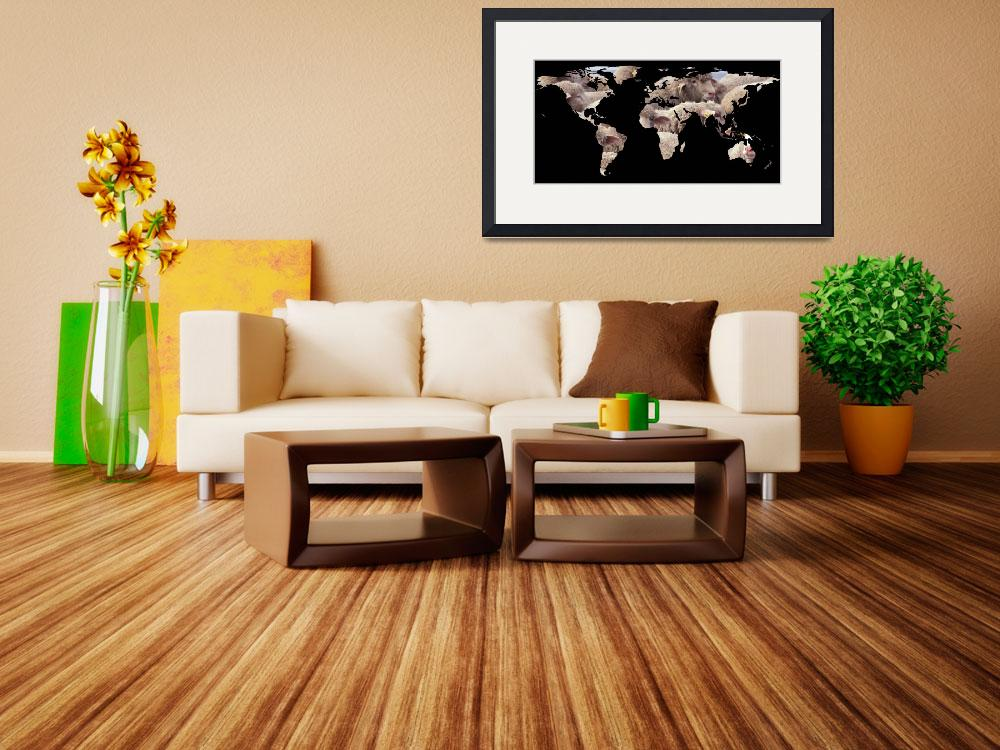 """World Map Silhouette - Sheep Herd&quot  by Alleycatshirts"