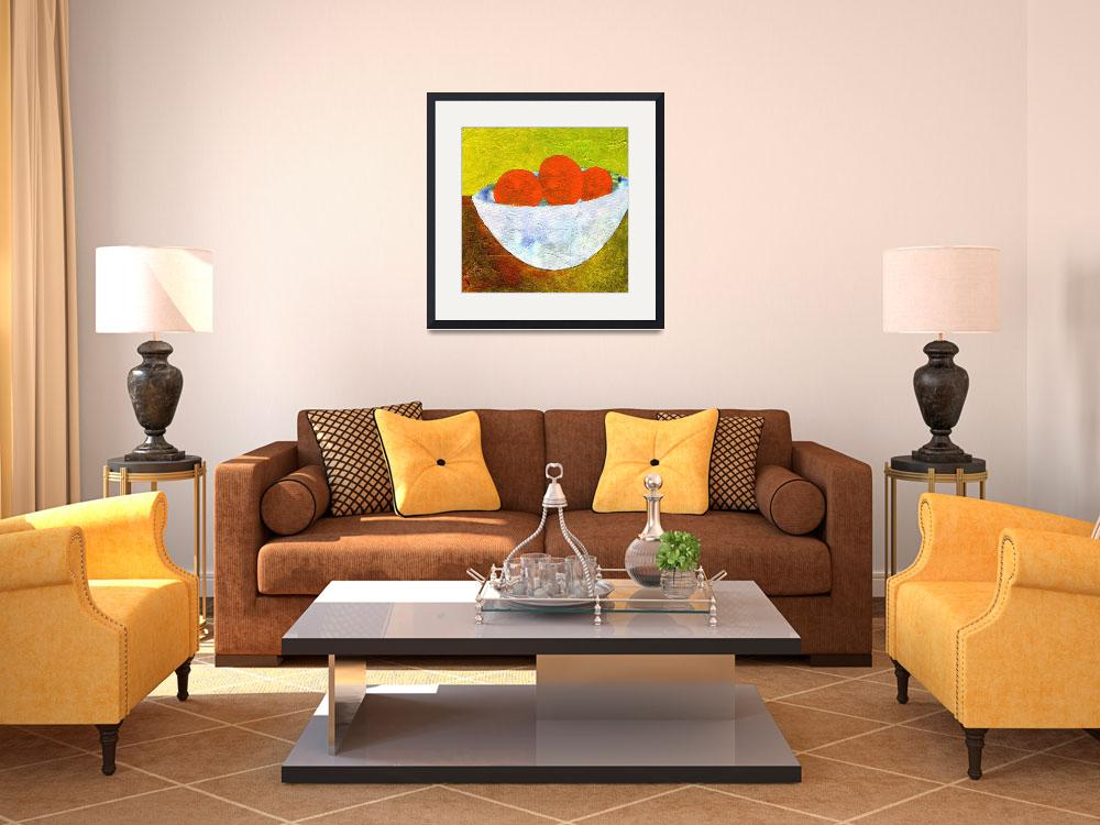"""Oranges in a White Bowl&quot  (2010) by AbbyCreekStudios"
