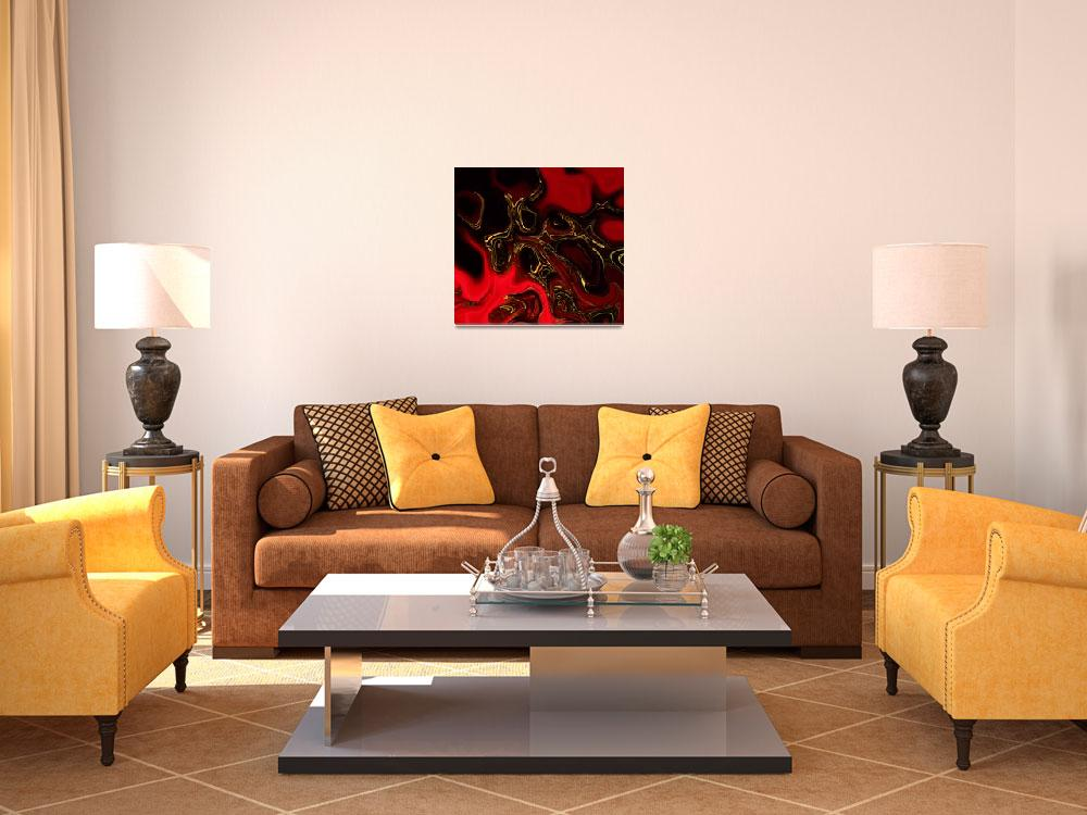 """Zizzago Art Abstract Red Gold Flame 3&quot  (2009) by shanmaree"