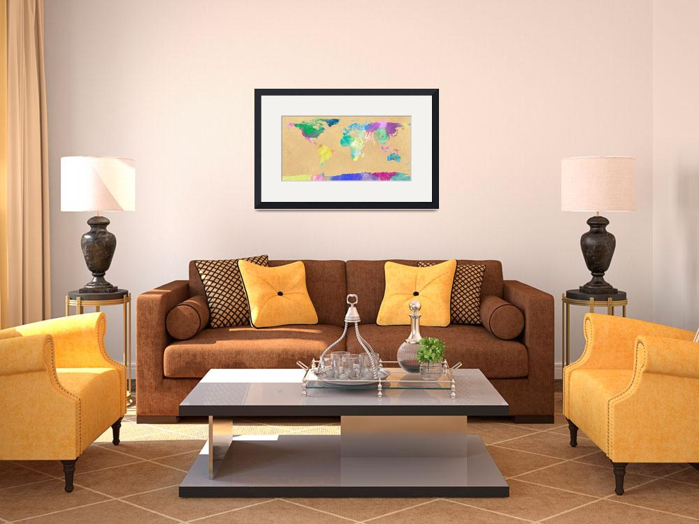 """watercolor world map 1&quot  (2012) by gsquared"