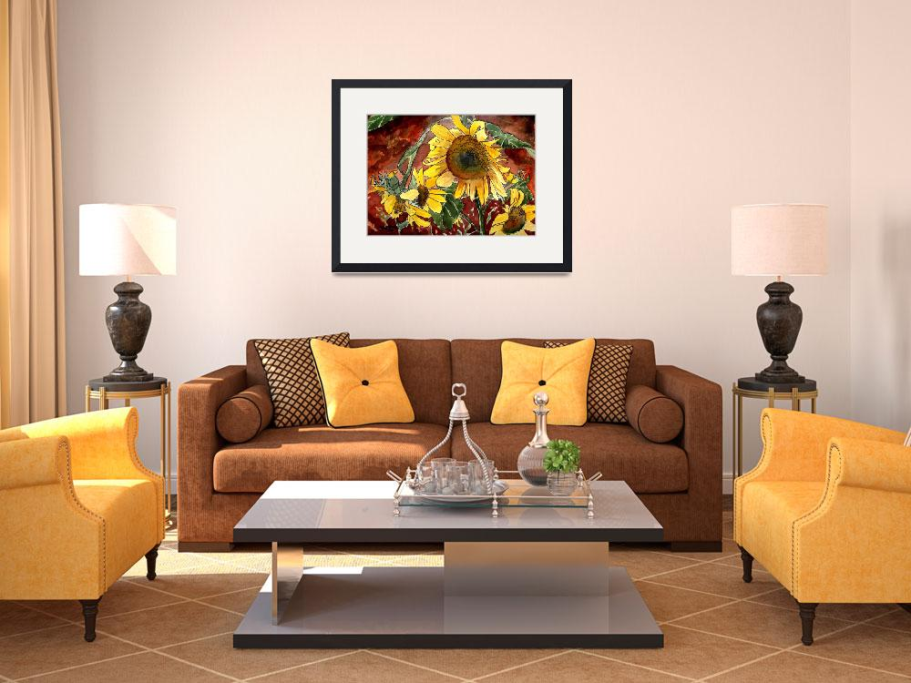 """sunflower flower paintings&quot  (2010) by derekmccrea"