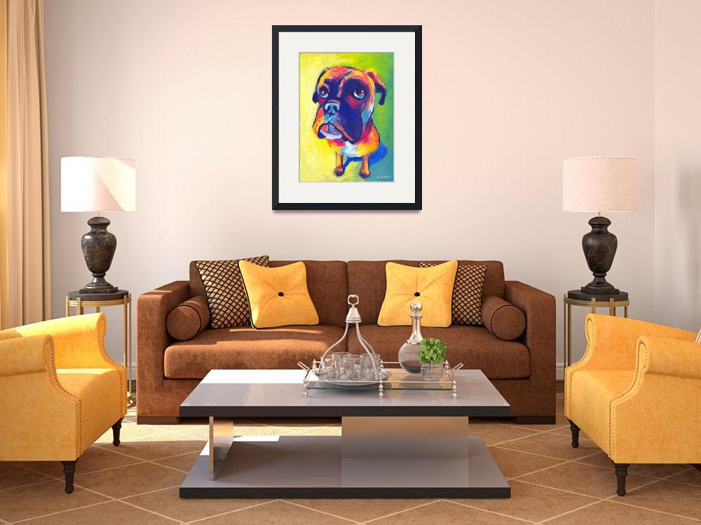 """Cute Boxer dog puppy portrait painting&quot  by SvetlanaNovikova"