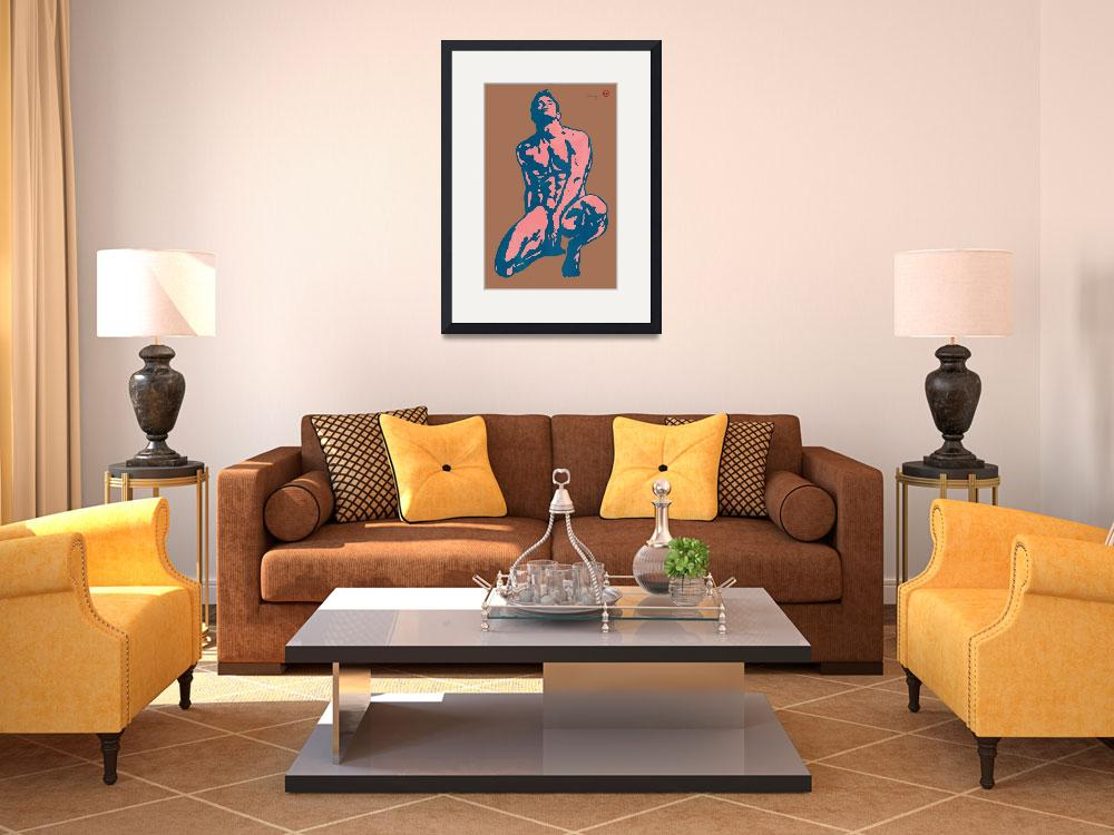 """gay etching style nude pop art  poster&quot  (2014) by visualharbour"