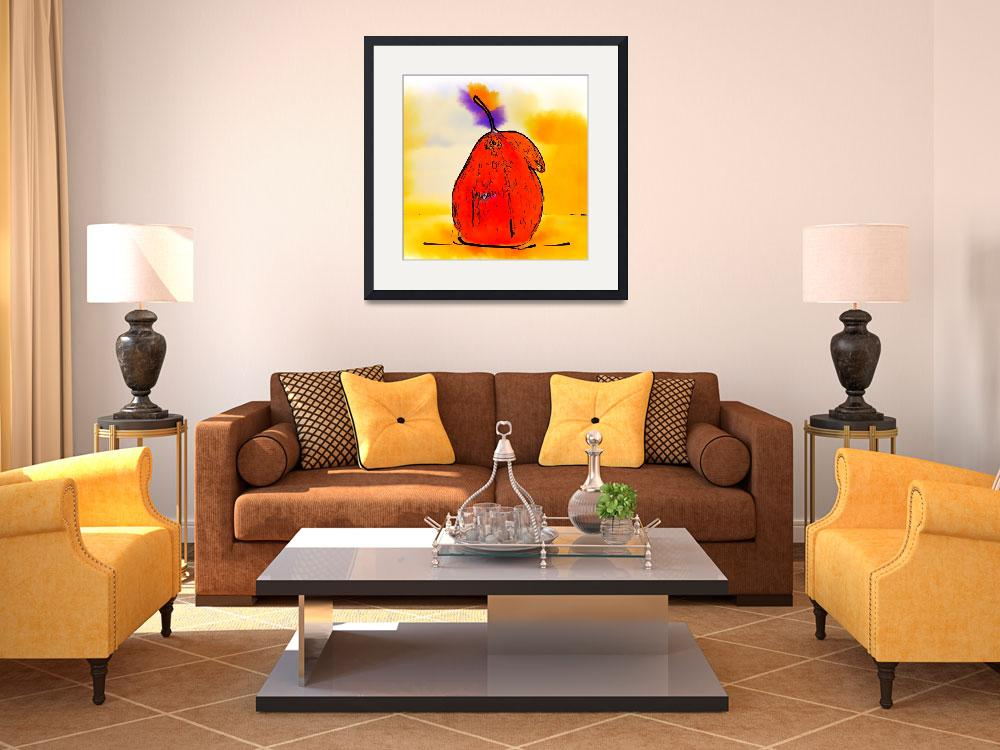 """Orange Pear Watercolor&quot  (2013) by Kirtdtisdale"