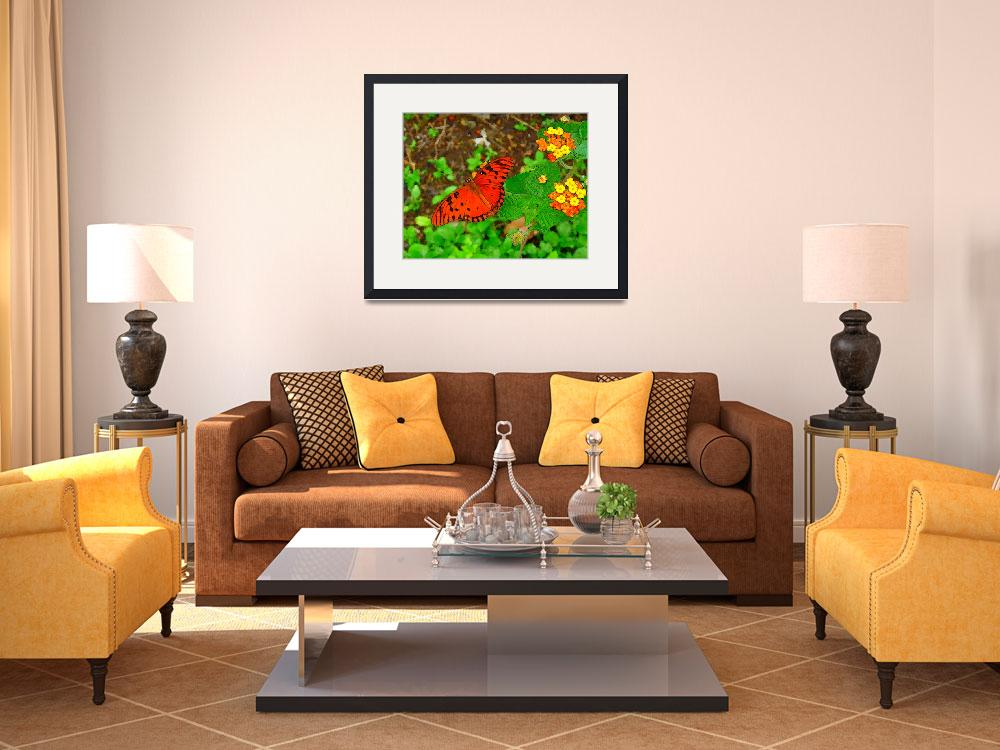 """Two Flowers & The Butterfly&quot  (2010) by Caribbean-Digital-Art"