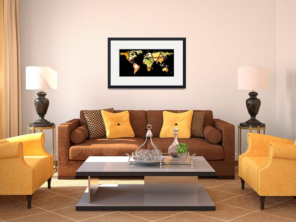 """World Map Silhouette - Citrus Fruits&quot  by Alleycatshirts"