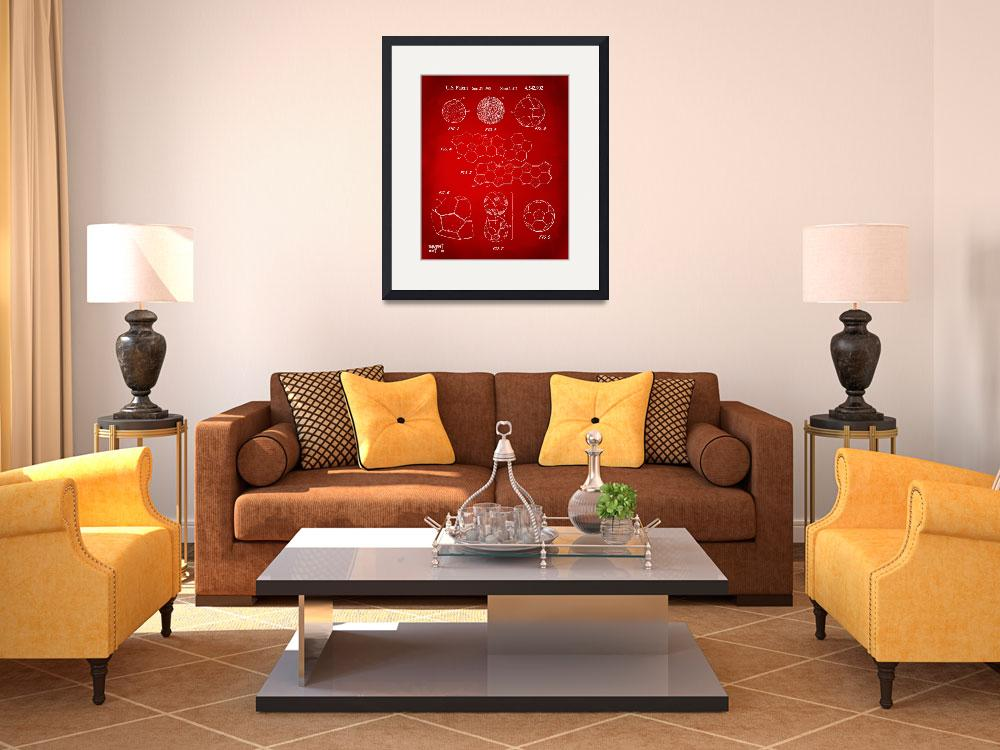 """Soccer Ball Construction Patent Artwork Red&quot  (2014) by nikkismith"