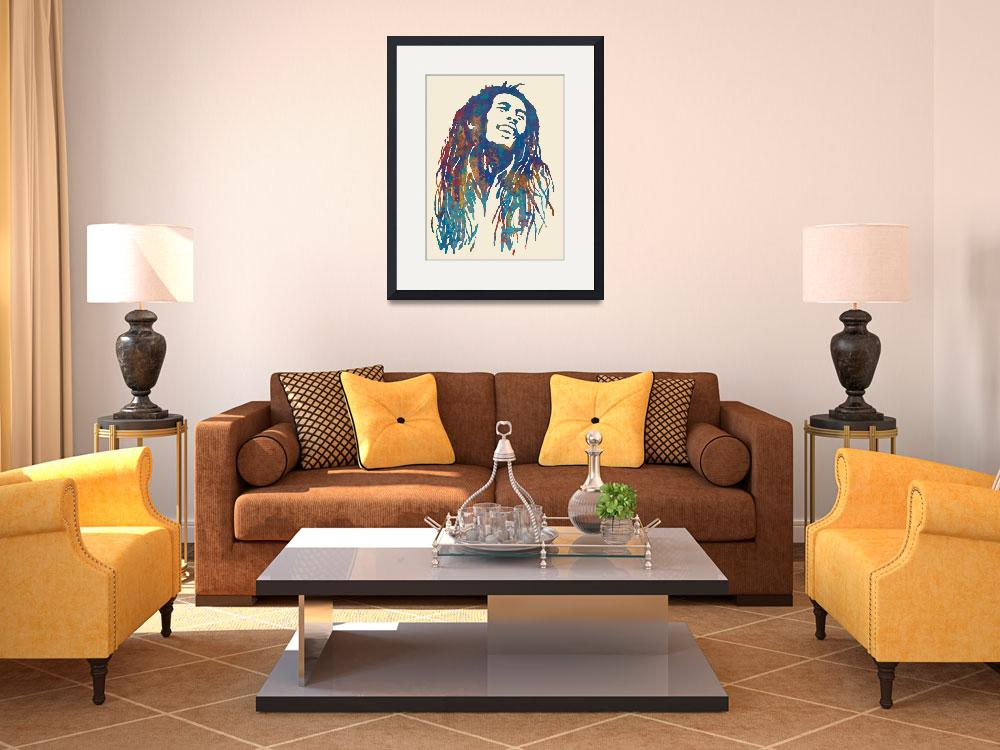 """Bob Marley etching pop art poster&quot  (2014) by visualharbour"