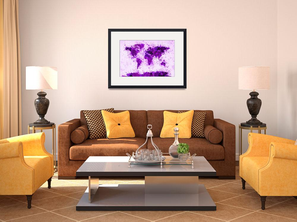 """World Map Paint Splashes Purple&quot  (2012) by ModernArtPrints"