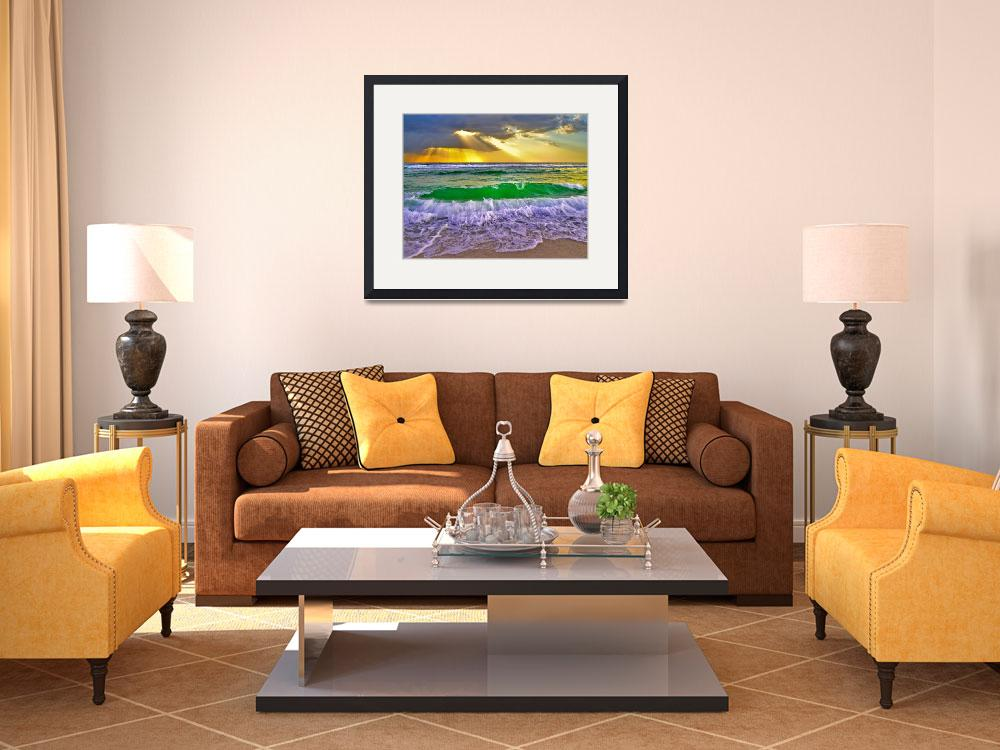 """Breaking Wave Gold Sunrays Sunset Fine Art Prints&quot  (2012) by eszra"