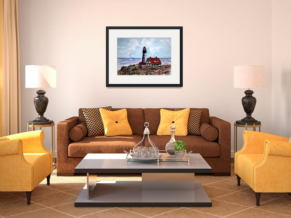 """nautical art print portland head lighthouse&quot  (2008) by derekmccrea"