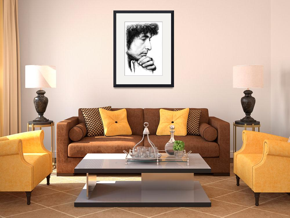 """bob dylan art drawing sketch portrait&quot  (2014) by visualharbour"
