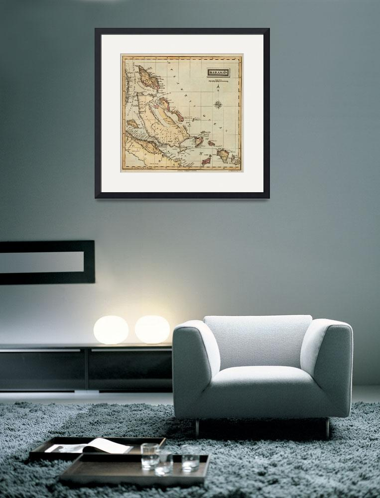 """Vintage Map of The Bahamas (1823)&quot  by Alleycatshirts"