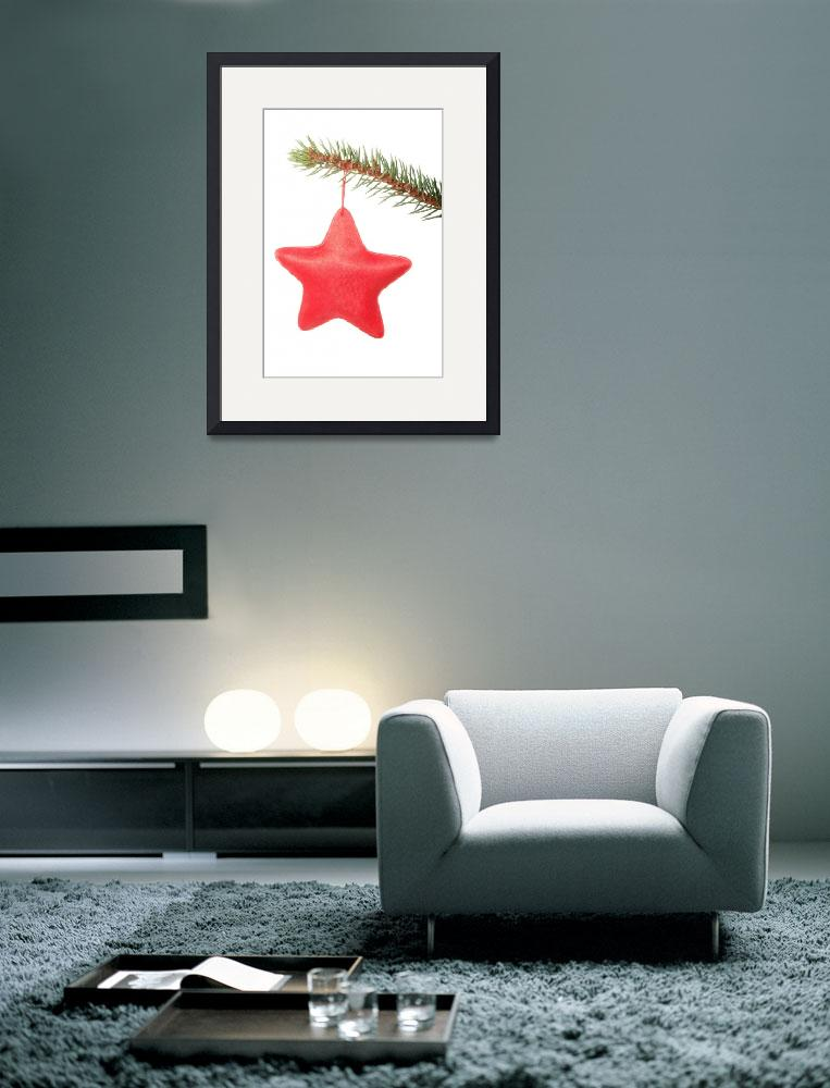 """red star hanging on a christmas tree.&quot  by Piotr_Marcinski"