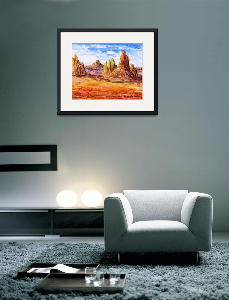 """Southwest Art; Impressionistic Desert&quot  (2007) by Lenora"