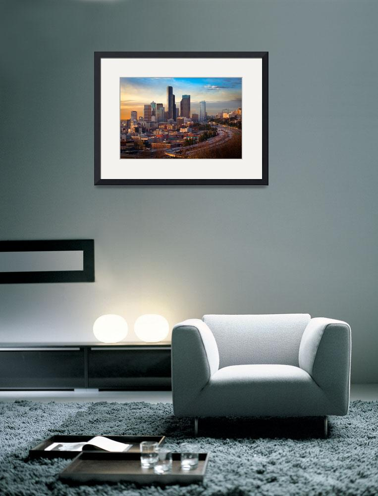 """Seattle Skyline at Dusk&quot  (2011) by Inge-Johnsson"