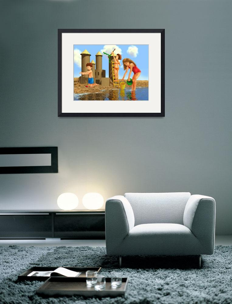 """blue,childrens art,childrens room,beach,nursery&quot  (2002) by MarianneIlevitzky"