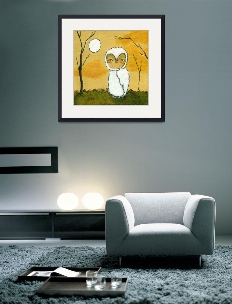 """Evening Stroll, Whimsical White Owl,Landscape Art&quot  (2012) by Itaya"