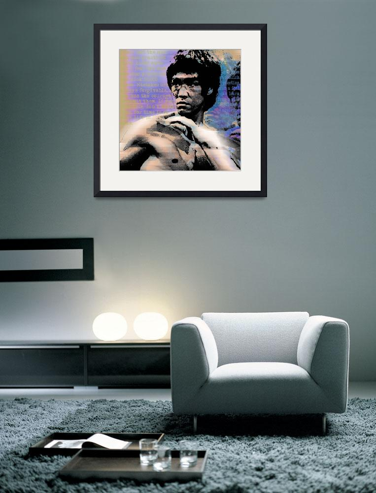"""Bruce Lee and Quotes Square&quot  (2013) by RubinoFineArt"
