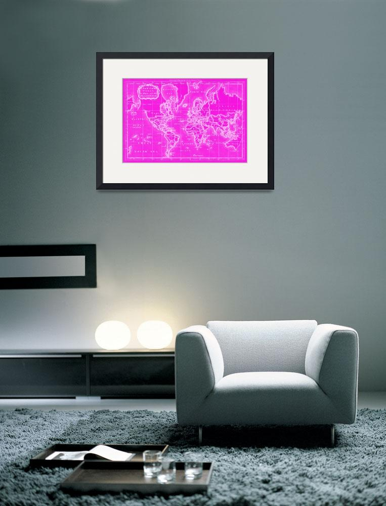 """World Map (1766) Pink & White&quot  by Alleycatshirts"