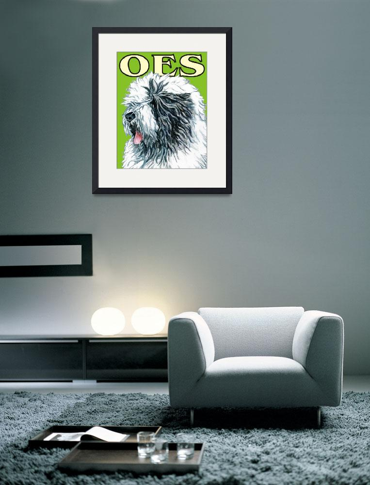 """Green Pop Pup Old English Sheepdog&quot  (2009) by KathleenSepulveda"