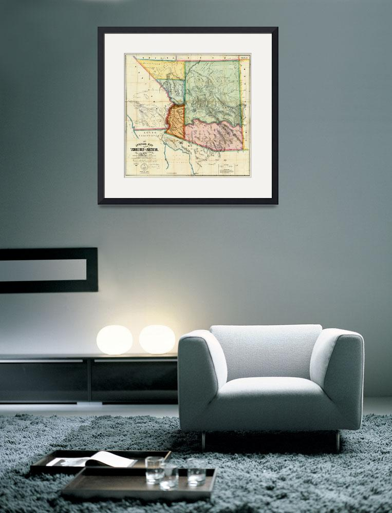 """Vintage Map of Arizona (1865)&quot  by Alleycatshirts"