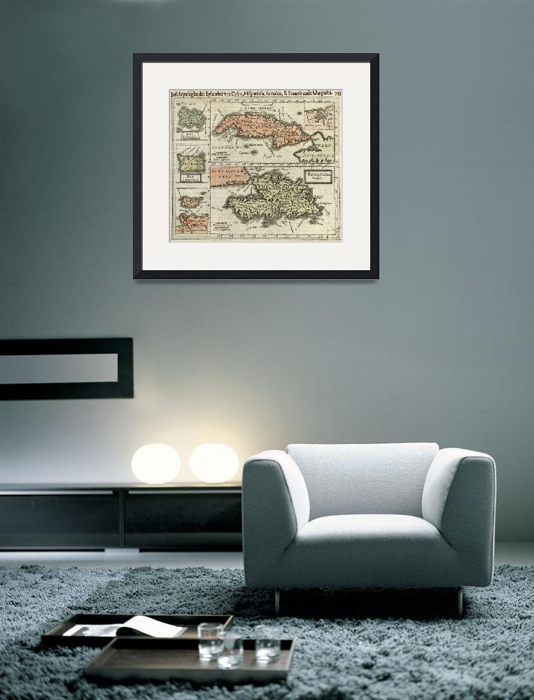 """Vintage Map of The Caribbean Islands (1630)&quot  by Alleycatshirts"