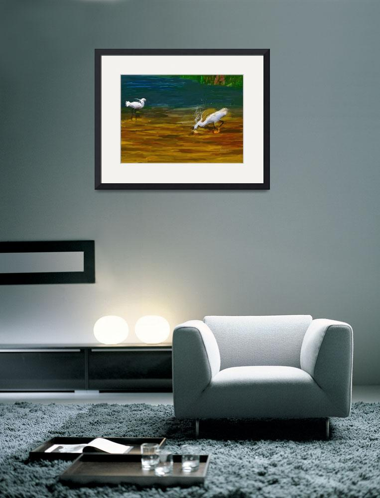 """Computer Generated Image Of Bird Wading And Drinki&quot  by DesignPics"