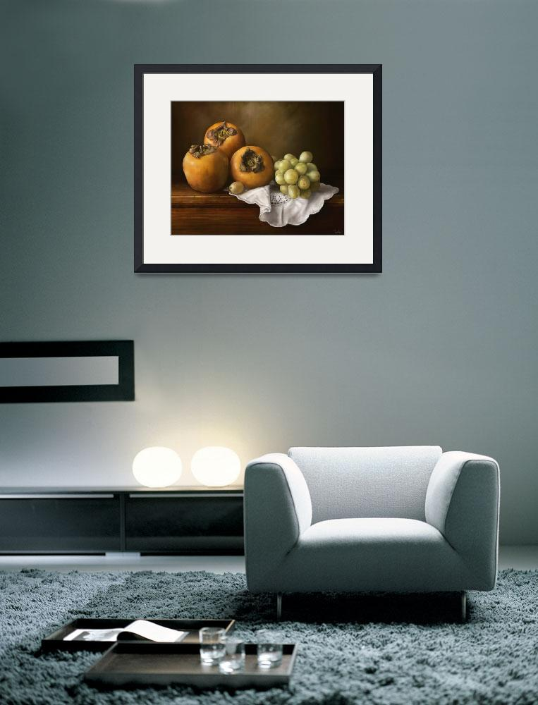 """Classic Still Life with Persimmons and Grape&quot  (2012) by rustydoubleohseven"