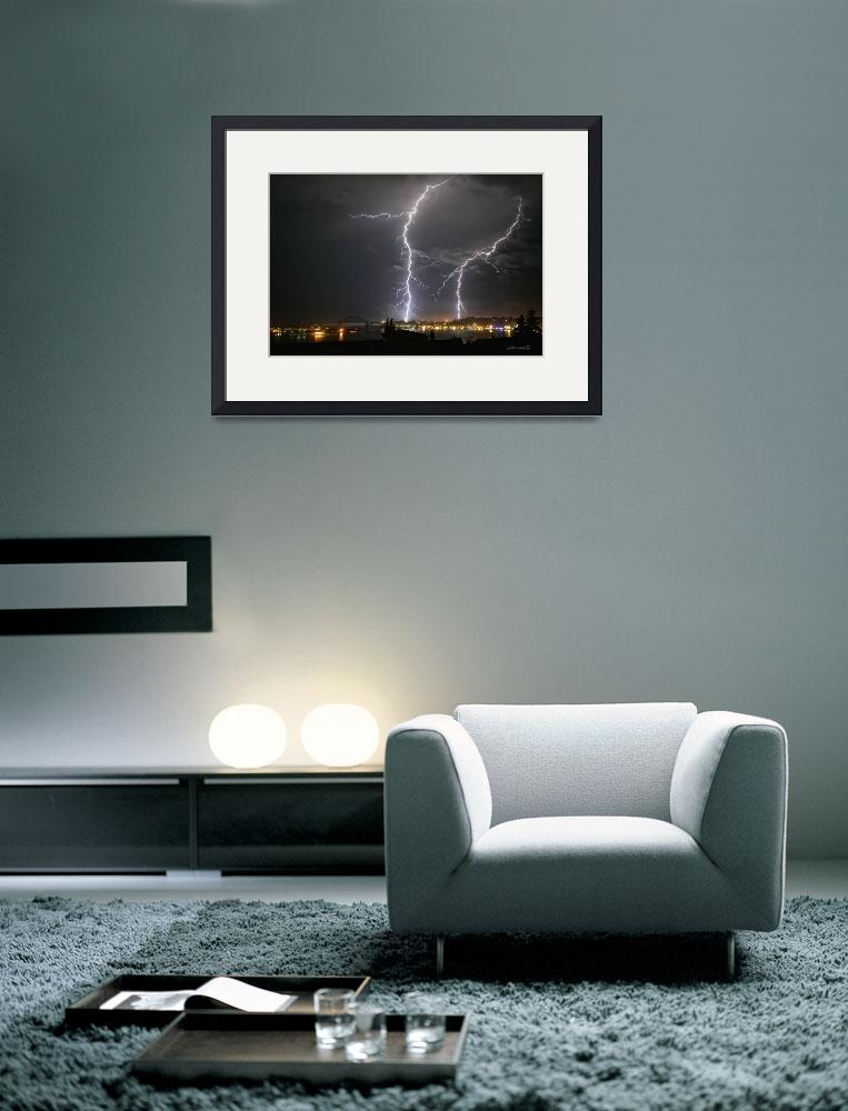 """Lightning Over Yaquina Bay&quot  (2005) by jowienert"