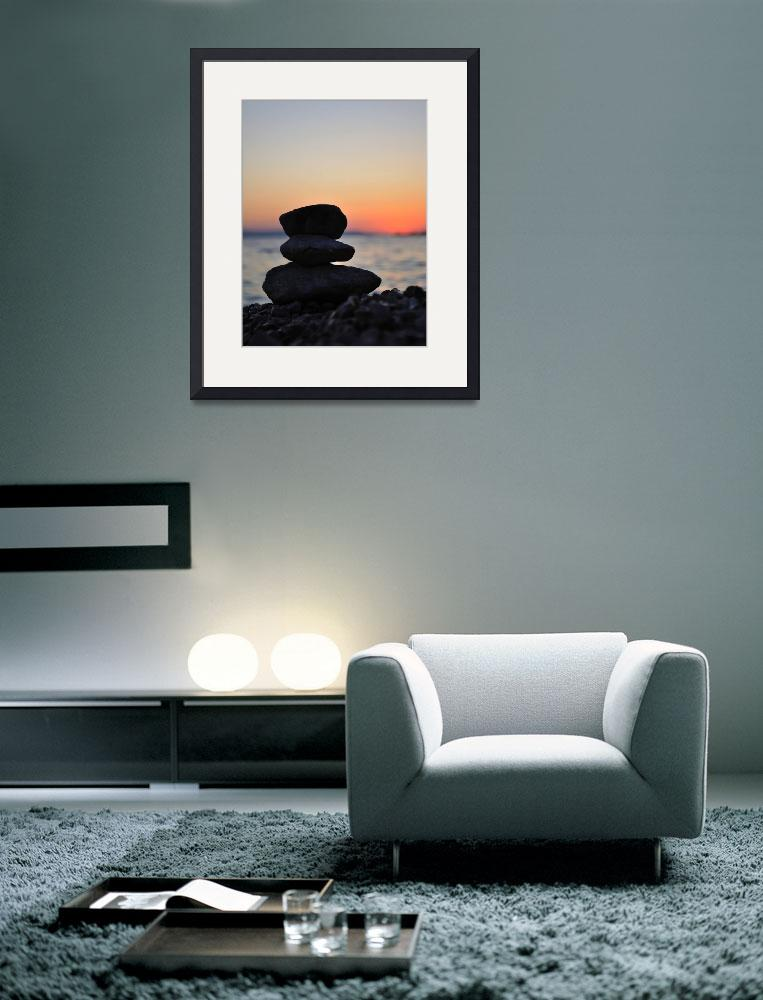 """Silhouette of three zen rocks on the beach&quot  (2012) by creative_photography"