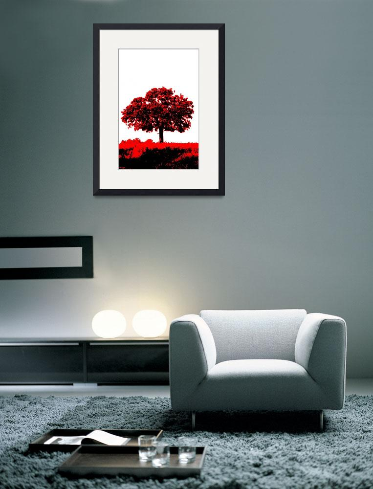 """Lone Oak - Black White And Red Series&quot  (2013) by bettynorthcutt"