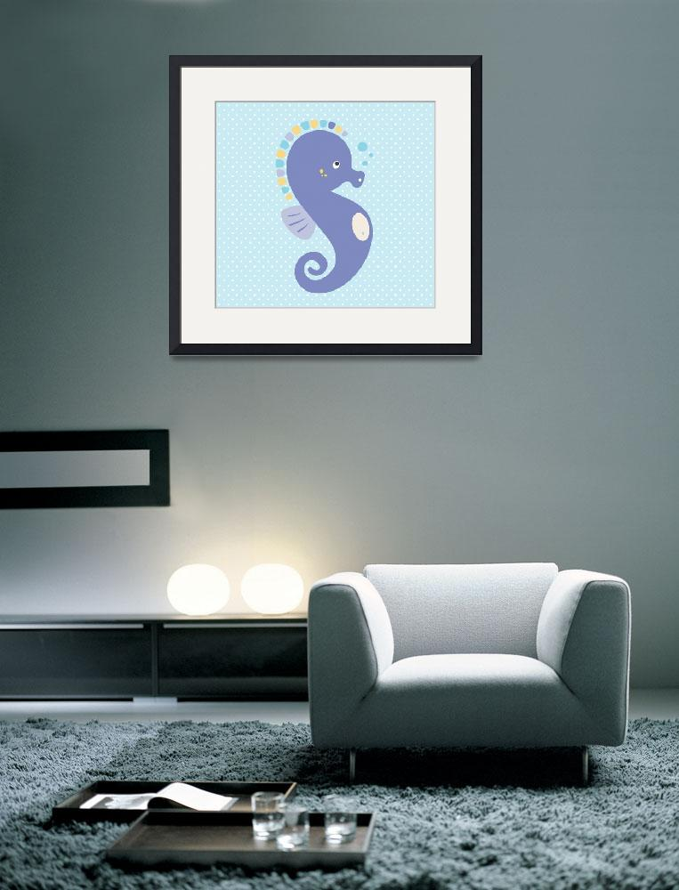 """Seahorse (blue)&quot  by littlebubbies"
