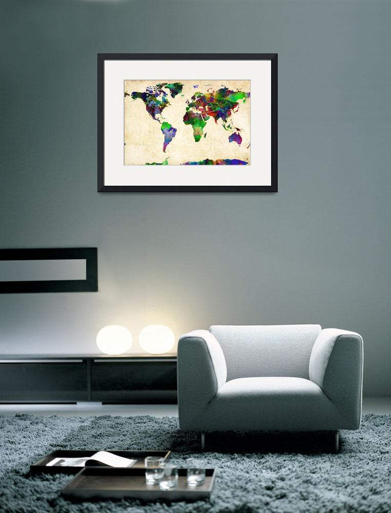 """World Map Watercolor&quot  (2013) by redssr03"