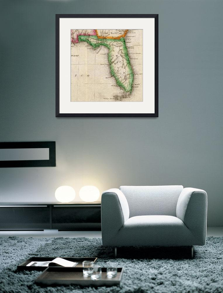 """Vintage Map of Florida (1822)&quot  by Alleycatshirts"