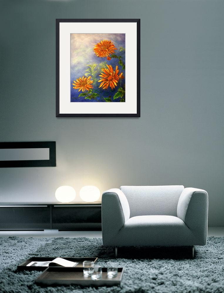 """Impressionist Orange Daisies in Blue Background&quot  (2002) by Lenora"