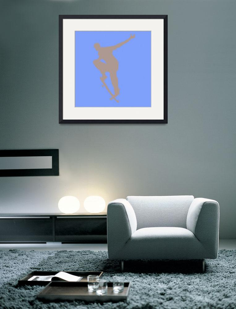 """Skateboarder 1 . blue gray (c)&quot  (2014) by edmarion"