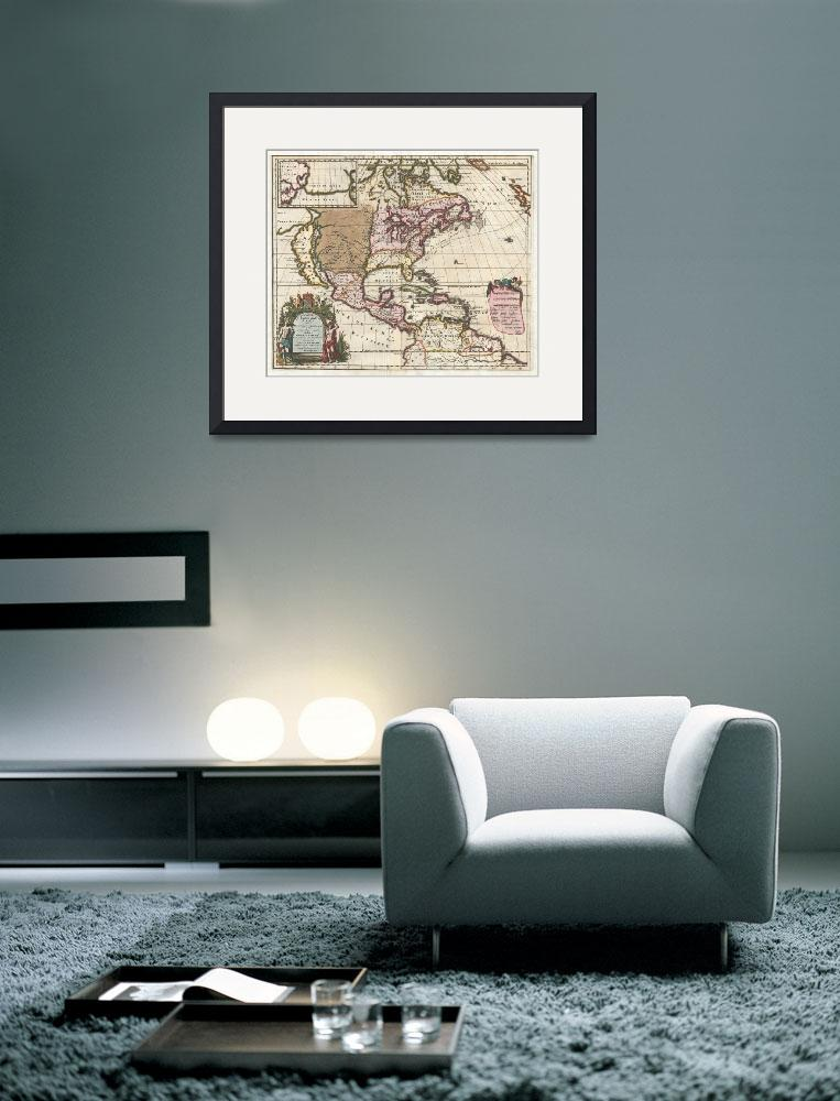"""Vintage Map of The Americas (1698)&quot  by Alleycatshirts"