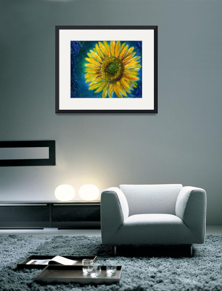 """Yellow Sunflower in Shimmering Blue&quot  (2004) by Lenora"