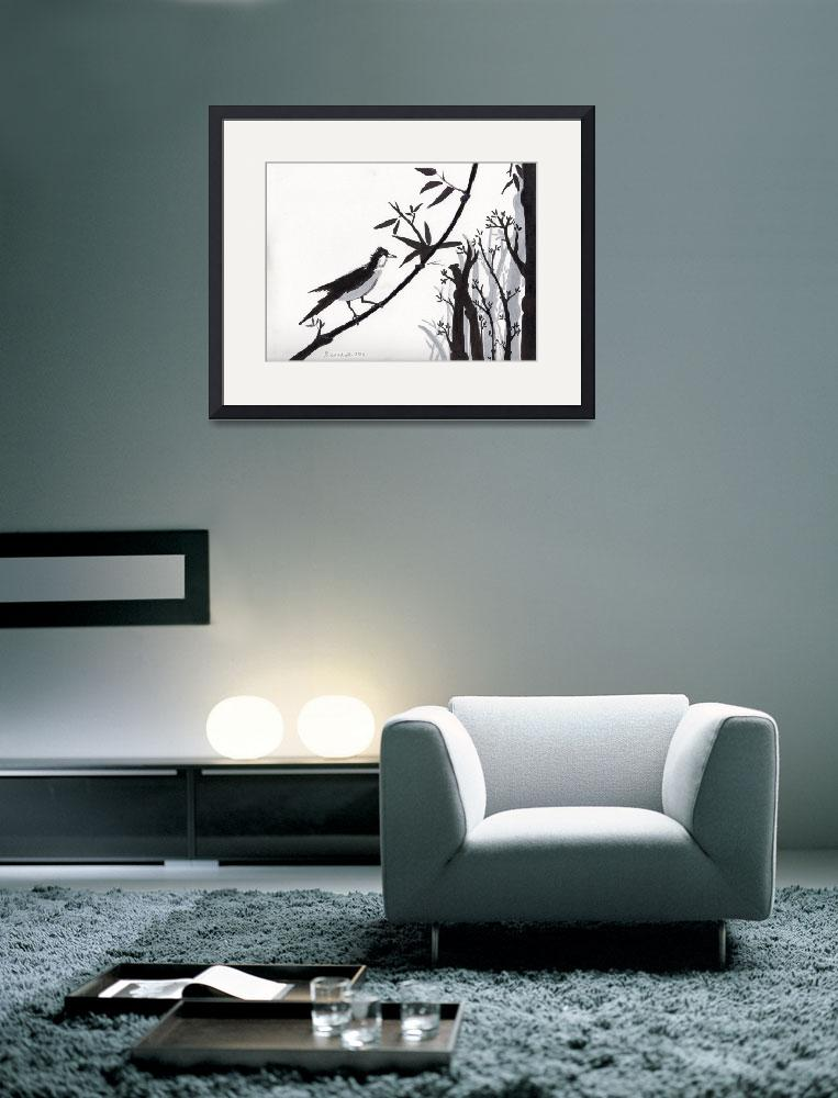 """Zen Sumi Bird 1a Black Ink on Watercolor Paper&quot  (2011) by Ricardos"