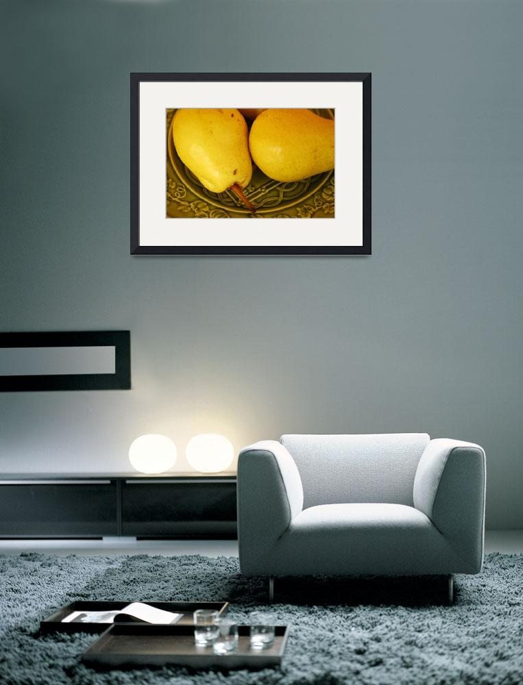 """Two Ripe Pears on a Green Plate_4783&quot  (2004) by AmbientCreations"