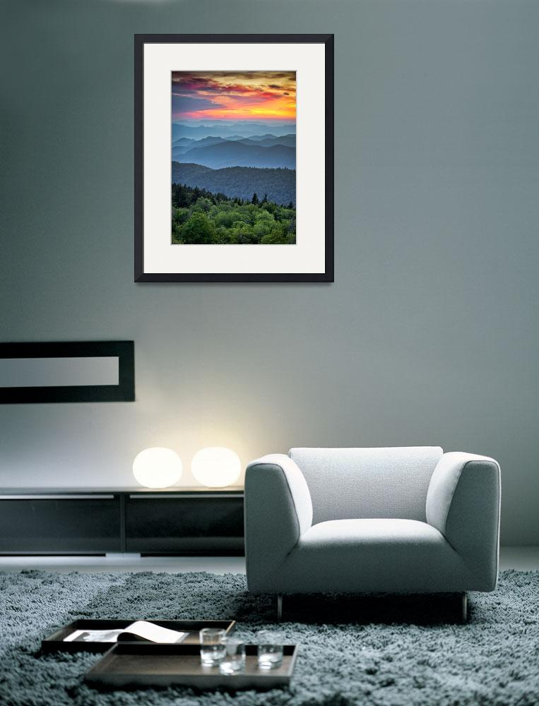 """Blue Ridge Parkway Sunset - The Great Blue Yonder&quot  (2011) by DAPhoto"