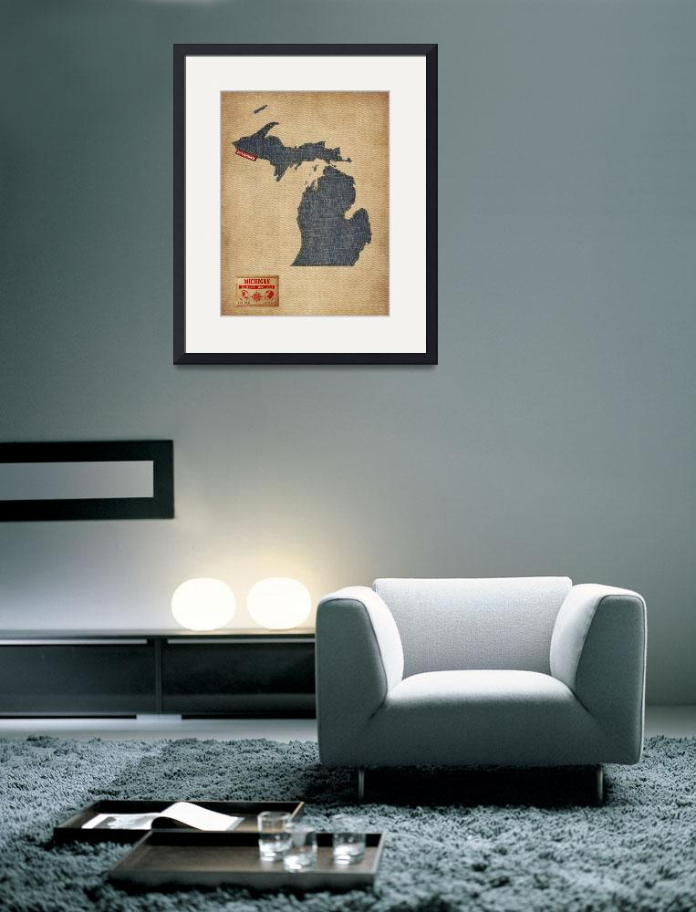 """Michigan Map Denim Jeans Style&quot  (2014) by ModernArtPrints"