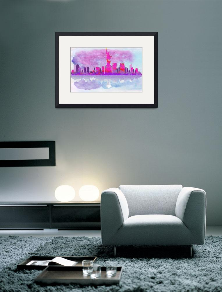 """New York City Silhouette in Hot Pink and Purple&quot  by WrightFineArt"