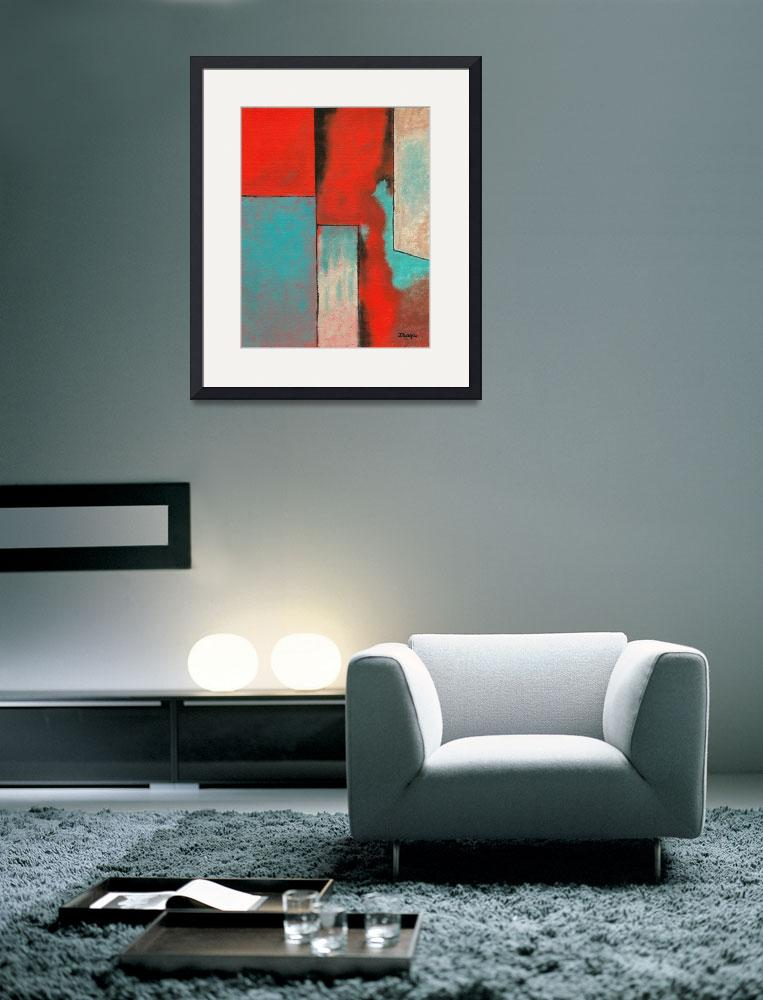 """Abstract Art Contemporary Painting Red Aqua Black&quot  (2007) by Itaya"