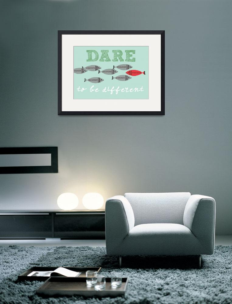 """Scandinavian design fish poster dare to be free&quot  (2012) by Lebonvintage"